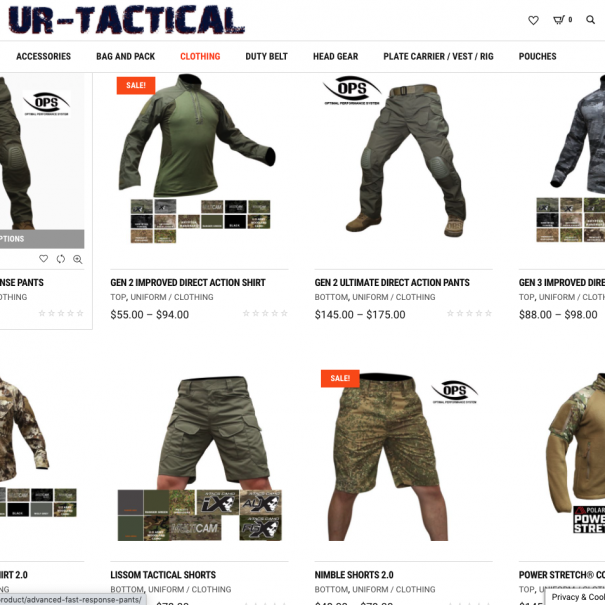 UR-TACTICAL Online Store Product List Screen