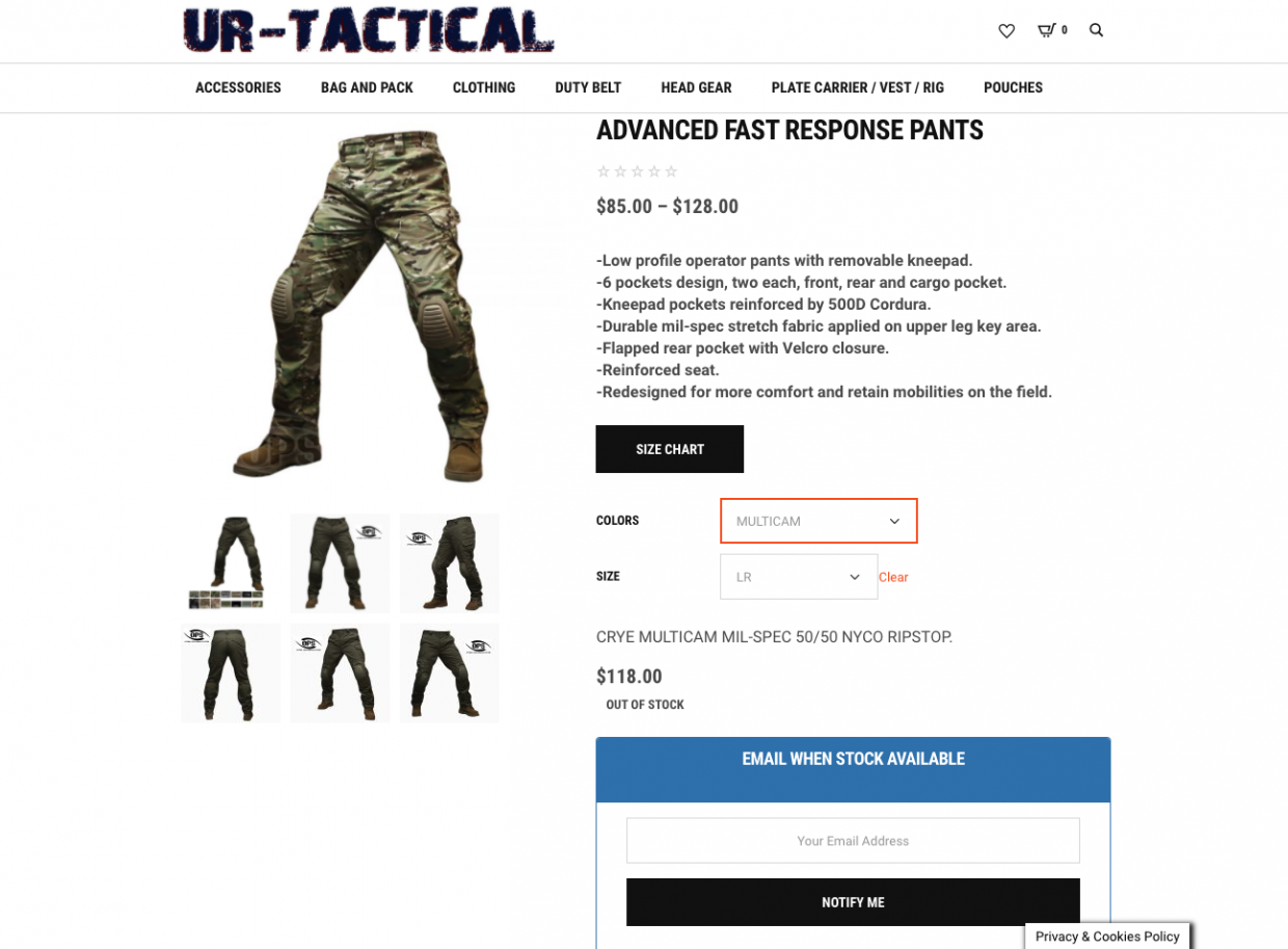UR-TACTICAL Product Detail Screen with No Stock