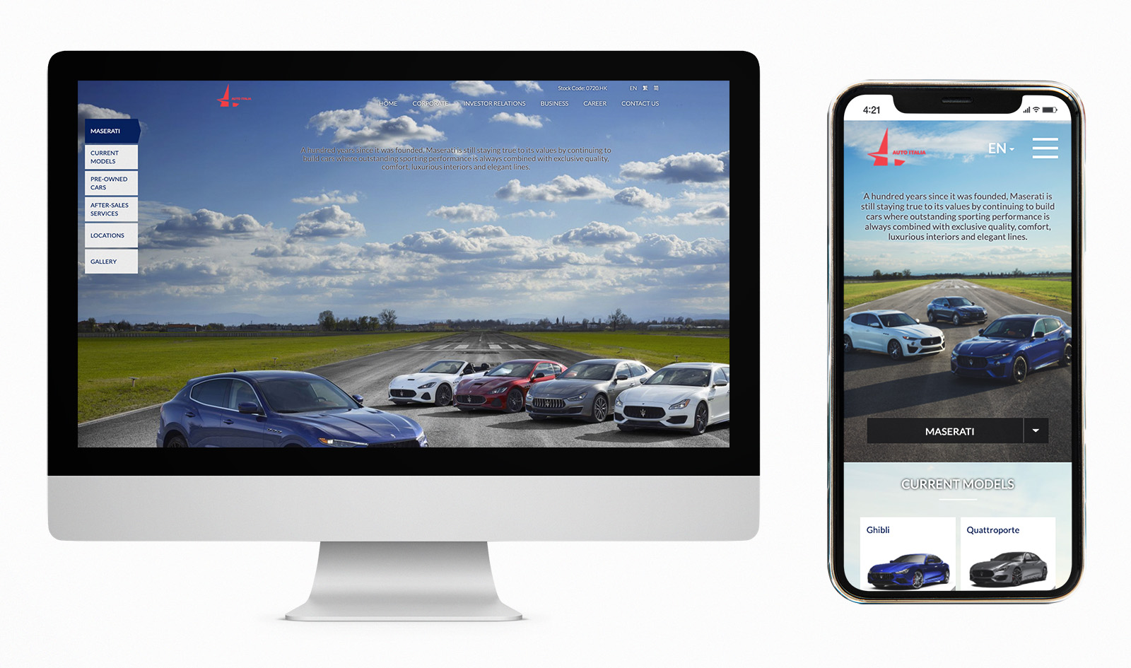Desktop and Mobile View for Auto Italia Car Corporate Website