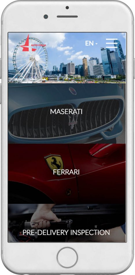 Home page of AutoItalia in mobile browser